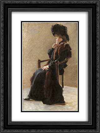 Portrait of an elegant lady 18x24 Black or Gold Ornate Framed and Double Matted Art Print by John Bauer