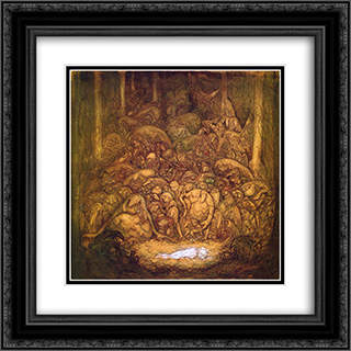 Root trolls 20x20 Black or Gold Ornate Framed and Double Matted Art Print by John Bauer