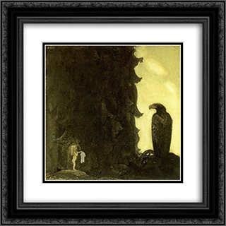 She gave the eagle her petticoat 20x20 Black or Gold Ornate Framed and Double Matted Art Print by John Bauer