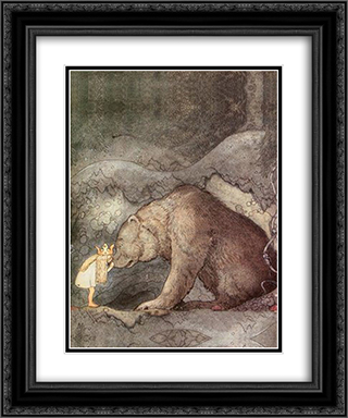 She kissed the bear on the nose 20x24 Black or Gold Ornate Framed and Double Matted Art Print by John Bauer