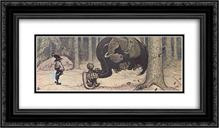 Stalo and Kauras 24x14 Black or Gold Ornate Framed and Double Matted Art Print by John Bauer