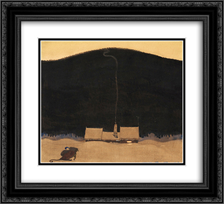 The cottage at the foot of the mountain 22x20 Black or Gold Ornate Framed and Double Matted Art Print by John Bauer