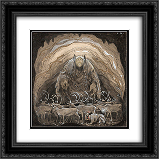 The Man Who Walked Among Gnom 20x20 Black or Gold Ornate Framed and Double Matted Art Print by John Bauer
