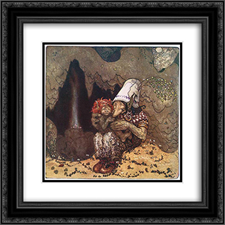 Trollandchild 20x20 Black or Gold Ornate Framed and Double Matted Art Print by John Bauer