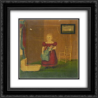 Girl Holding Doll in an Interior 20x20 Black or Gold Ornate Framed and Double Matted Art Print by John Bradley
