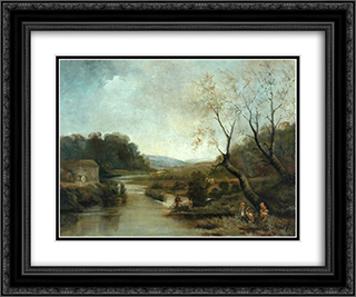 Old Corn Mill, Stockbridge 24x20 Black or Gold Ornate Framed and Double Matted Art Print by John Bradley