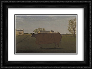 Painting of a Prize Cow in a Field 24x18 Black or Gold Ornate Framed and Double Matted Art Print by John Bradley