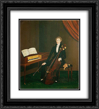 The Cellist 20x22 Black or Gold Ornate Framed and Double Matted Art Print by John Bradley