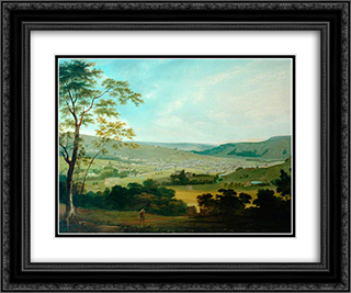 View of Keighley 24x20 Black or Gold Ornate Framed and Double Matted Art Print by John Bradley