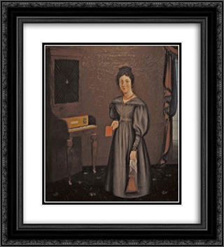 Woman Before a Pianoforte 20x22 Black or Gold Ornate Framed and Double Matted Art Print by John Bradley