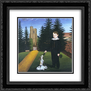 Young Boy Feeding Rabbits 20x20 Black or Gold Ornate Framed and Double Matted Art Print by John Bradley