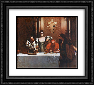 A glass of wine with Caesar Borgia 22x20 Black or Gold Ornate Framed and Double Matted Art Print by John Collier