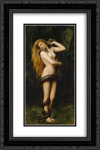 Lilith with a Snake 16x24 Black or Gold Ornate Framed and Double Matted Art Print by John Collier