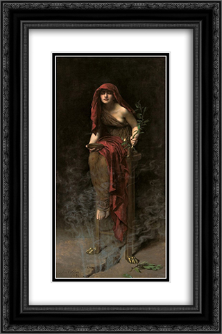 Priestess of Delphi 16x24 Black or Gold Ornate Framed and Double Matted Art Print by John Collier