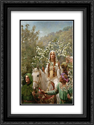 Queen Guinevre's Maying 18x24 Black or Gold Ornate Framed and Double Matted Art Print by John Collier