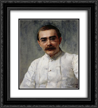 Rudyard Kipling 20x22 Black or Gold Ornate Framed and Double Matted Art Print by John Collier