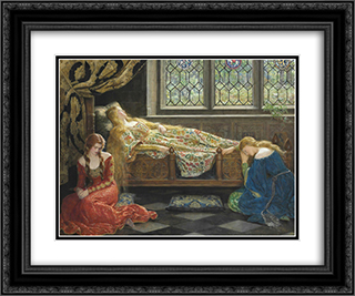 Sleeping Beauty 24x20 Black or Gold Ornate Framed and Double Matted Art Print by John Collier