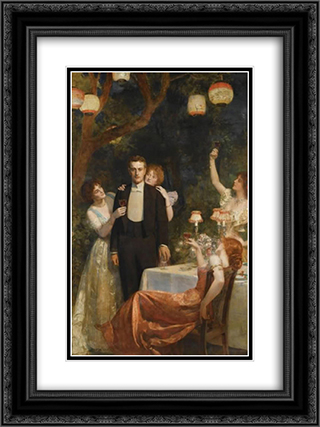 The Garden Party 18x24 Black or Gold Ornate Framed and Double Matted Art Print by John Collier