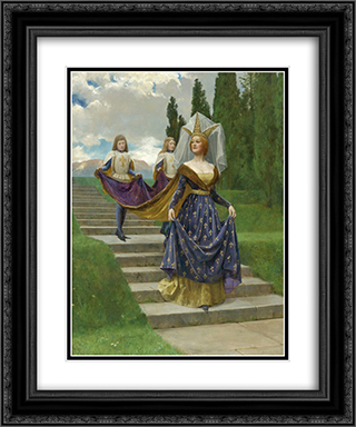 The Grand Lady 20x24 Black or Gold Ornate Framed and Double Matted Art Print by John Collier
