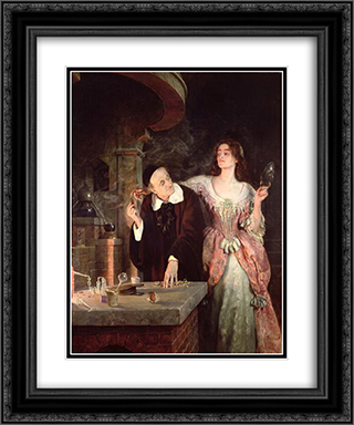 The Laboratory 20x24 Black or Gold Ornate Framed and Double Matted Art Print by John Collier