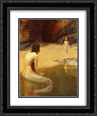 The Land Baby 20x24 Black or Gold Ornate Framed and Double Matted Art Print by John Collier