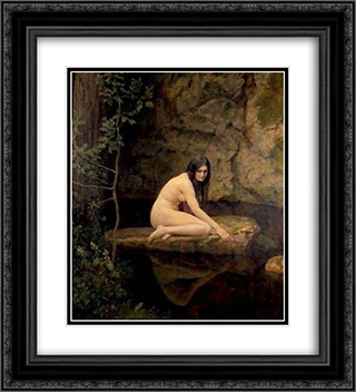 The Water Nymph 20x22 Black or Gold Ornate Framed and Double Matted Art Print by John Collier