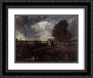 A Boat at the Sluice 24x20 Black or Gold Ornate Framed and Double Matted Art Print by John Constable