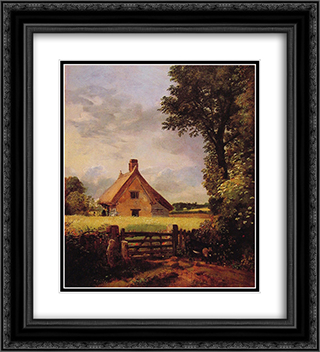A Cottage in a Cornfield 20x22 Black or Gold Ornate Framed and Double Matted Art Print by John Constable