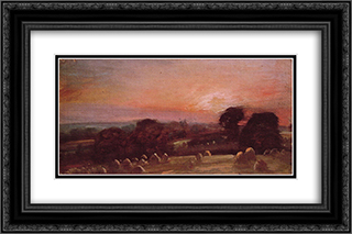 A Hayfield near East Bergholt at Sunset 24x16 Black or Gold Ornate Framed and Double Matted Art Print by John Constable