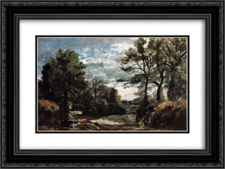A Lane near Flatford 24x18 Black or Gold Ornate Framed and Double Matted Art Print by John Constable