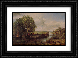 A View On The Stour Near Dedham 24x18 Black or Gold Ornate Framed and Double Matted Art Print by John Constable