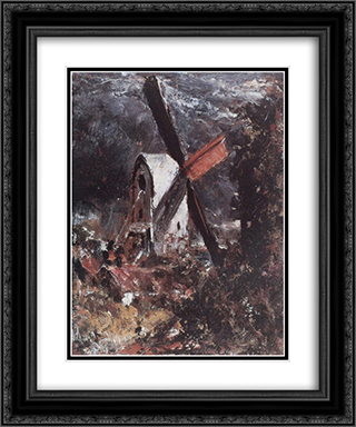 A Windmill near Brighton 20x24 Black or Gold Ornate Framed and Double Matted Art Print by John Constable