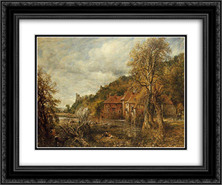 Arundel Mill and Castle 24x20 Black or Gold Ornate Framed and Double Matted Art Print by John Constable