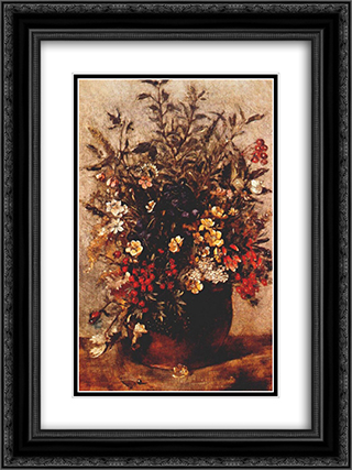 Autumn berries and flowers in brown pot 18x24 Black or Gold Ornate Framed and Double Matted Art Print by John Constable