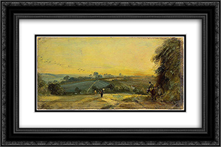 Autumn Sunset 24x16 Black or Gold Ornate Framed and Double Matted Art Print by John Constable