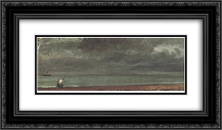 Beach in Brighton 24x14 Black or Gold Ornate Framed and Double Matted Art Print by John Constable