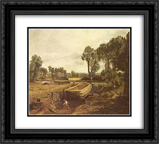 Boat Building 22x20 Black or Gold Ornate Framed and Double Matted Art Print by John Constable