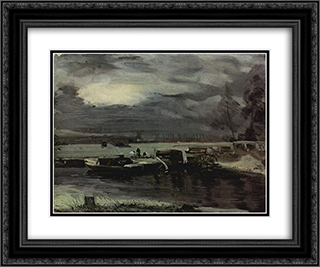 Boats on the Stour 24x20 Black or Gold Ornate Framed and Double Matted Art Print by John Constable