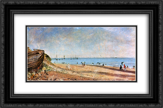 Brighton Beach 24x16 Black or Gold Ornate Framed and Double Matted Art Print by John Constable