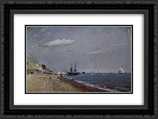 Brighton Beach with colliers 24x18 Black or Gold Ornate Framed and Double Matted Art Print by John Constable