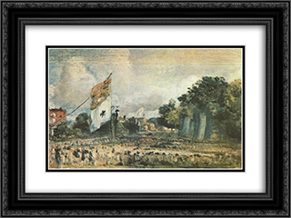 Celebration of the General Peace of 1814 in East Bergholt 24x18 Black or Gold Ornate Framed and Double Matted Art Print by John Constable