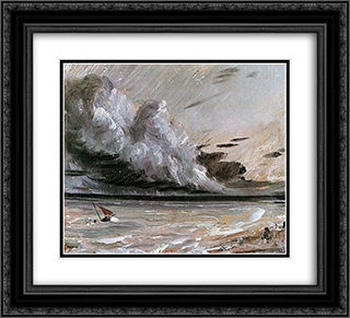 Coast scene with breaking cloud Sun 22x20 Black or Gold Ornate Framed and Double Matted Art Print by John Constable