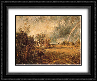 Cottage, Rainbow, Mill 24x20 Black or Gold Ornate Framed and Double Matted Art Print by John Constable