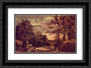 Country road 24x18 Black or Gold Ornate Framed and Double Matted Art Print by John Constable