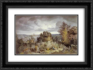 Dedham Church and Vale 24x18 Black or Gold Ornate Framed and Double Matted Art Print by John Constable