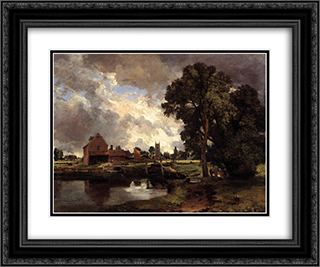 Dedham Lock and Mill 24x20 Black or Gold Ornate Framed and Double Matted Art Print by John Constable