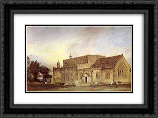 East Bergholt Church 24x18 Black or Gold Ornate Framed and Double Matted Art Print by John Constable