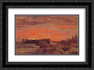 East Bergholt Rectory 24x18 Black or Gold Ornate Framed and Double Matted Art Print by John Constable