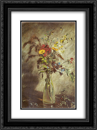 Flowers in a glass vase 18x24 Black or Gold Ornate Framed and Double Matted Art Print by John Constable
