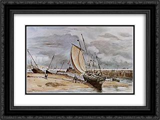 Fokstone harbour 24x18 Black or Gold Ornate Framed and Double Matted Art Print by John Constable